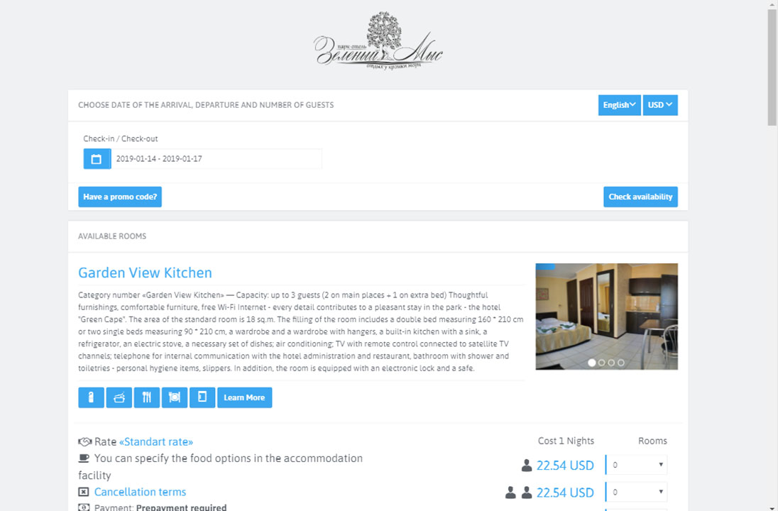 Online booking module